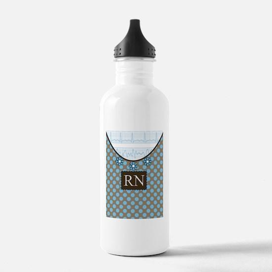 RN 1 Blue polka dots Water Bottle