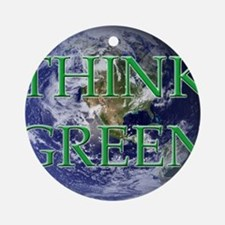 Think Green Double Sided Ornament (Round)