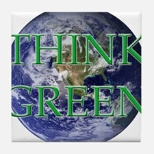 Think Green Double Sided Tile Coaster