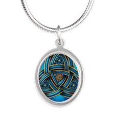 Blue Celtic Triquetra Silver Oval Necklace