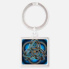 Blue Celtic Triquetra Square Keychain