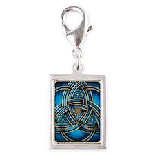 Blue Celtic Triquetra Silver Portrait Charm