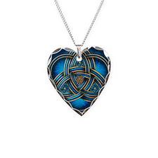 Blue Celtic Triquetra Necklace