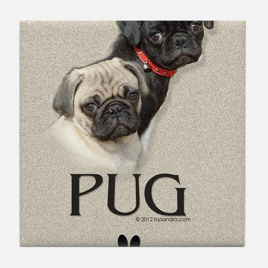 Two Pugs Tile Coaster