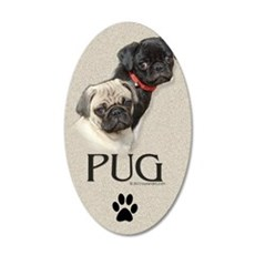 Two Pugs 35x21 Oval Wall Decal