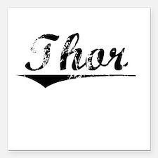 "Thor, Vintage Square Car Magnet 3"" x 3"""