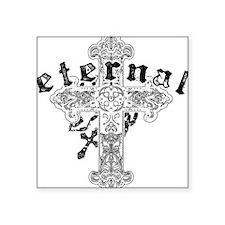 "Eternal Edge-Eternal Cross  Square Sticker 3"" x 3"""