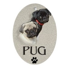 Two Pugs Oval Ornament