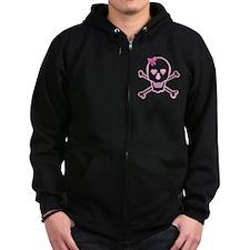 Fuchsia Girl Skull with Bow Zip Hoodie