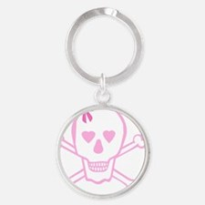 Fuchsia Girl Skull with Bow Round Keychain
