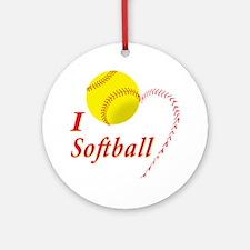 i love softball Round Ornament