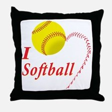 i love softball Throw Pillow