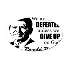 Never Defeated! Oval Car Magnet
