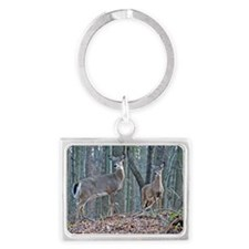 Doe and fawn Landscape Keychain