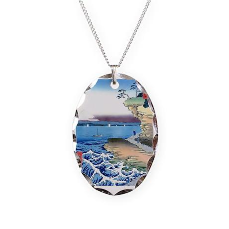 Hiroshige-Fuji- Bluffs Ocean V Necklace Oval Charm