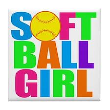 softball girl Tile Coaster