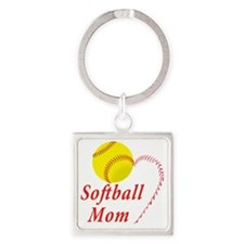 Softball Mom Square Keychain