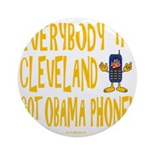Obama Phone Round Ornament