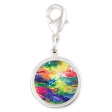 Cosmos Puzzle Silver Round Charm