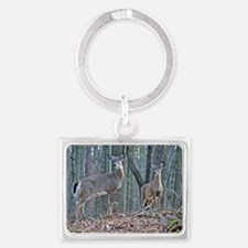 Doe with fawn Landscape Keychain