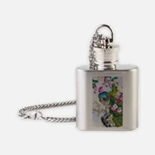 19th C Peacocks Azaleas Charger Flask Necklace