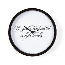 A girl's best asset is her books! Wall Clock