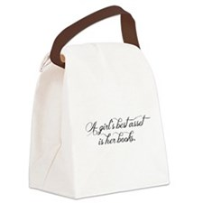 A girl's best asset is her books! Canvas Lunch Bag