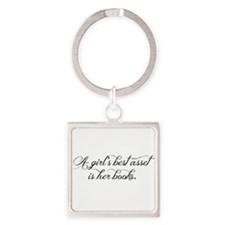 A girl's best asset is her books! Square Keychain