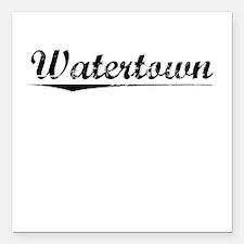 "Watertown, Vintage Square Car Magnet 3"" x 3"""