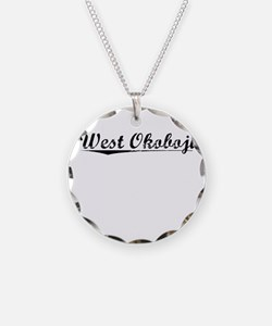West Okoboji, Vintage Necklace Circle Charm