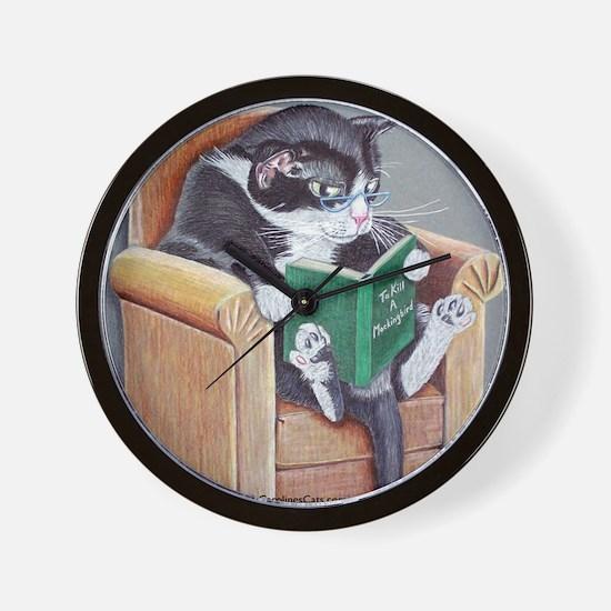 Reading Cat Wall Clock