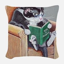 Reading Cat Woven Throw Pillow