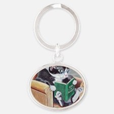 Reading Cat Oval Keychain