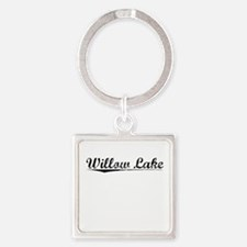 Willow Lake, Vintage Square Keychain