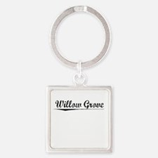 Willow Grove, Vintage Square Keychain