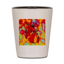 Artwork of human heart with abstract co Shot Glass