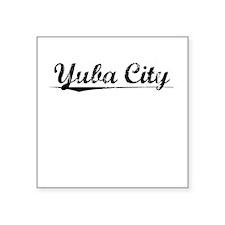 "Yuba City, Vintage Square Sticker 3"" x 3"""