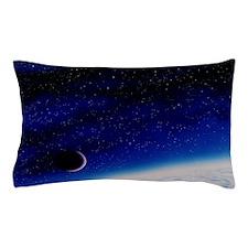 Artwork of a crecent Moon over the Ear Pillow Case