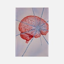 Artwork of brain with shattered g Rectangle Magnet