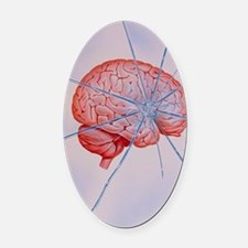 Artwork of brain with shattered gl Oval Car Magnet