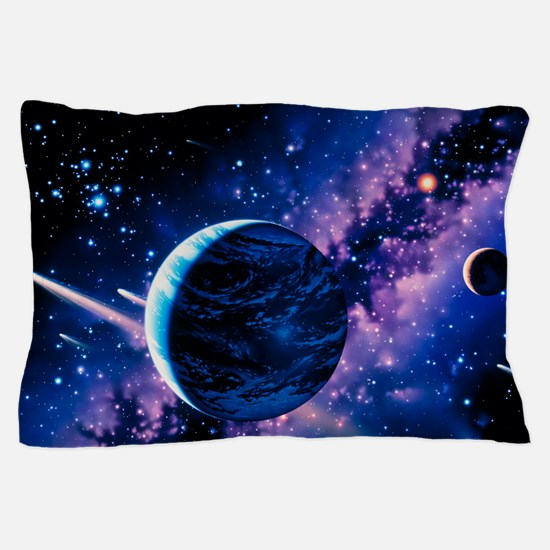 Artwork of comets passing the Earth Pillow Case