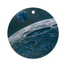 Artwork of ice in craters on the Mo Round Ornament