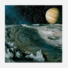 Artwork of Jupiter rising above Ganym Tile Coaster
