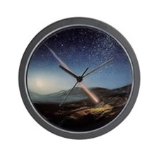 Artwork of meteorite hitting the ground Wall Clock