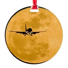 Aeroplane silhouetted against a ful Ornament