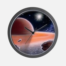 Artwork of shepherd moons in Saturn's r Wall Clock