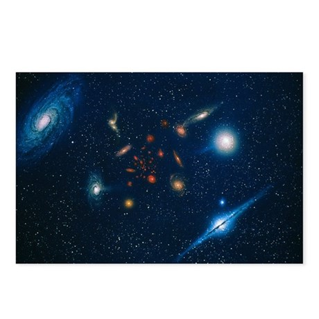 Artwork of various galaxi Postcards (Package of 8)