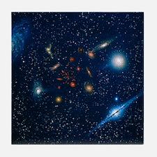 Artwork of various galaxies showing r Tile Coaster