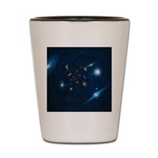 Artwork of various galaxies showing red Shot Glass