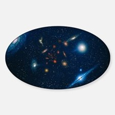 Artwork of various galaxies showing Sticker (Oval)